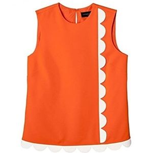 NEW Victoria Beckham Orange White Sleeveless Top